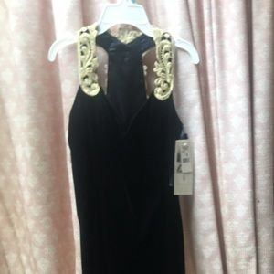 Jessica McClintock Black Dress NOS New Black Gold